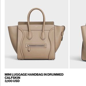 Celine luggage handbag by drummed calfskin